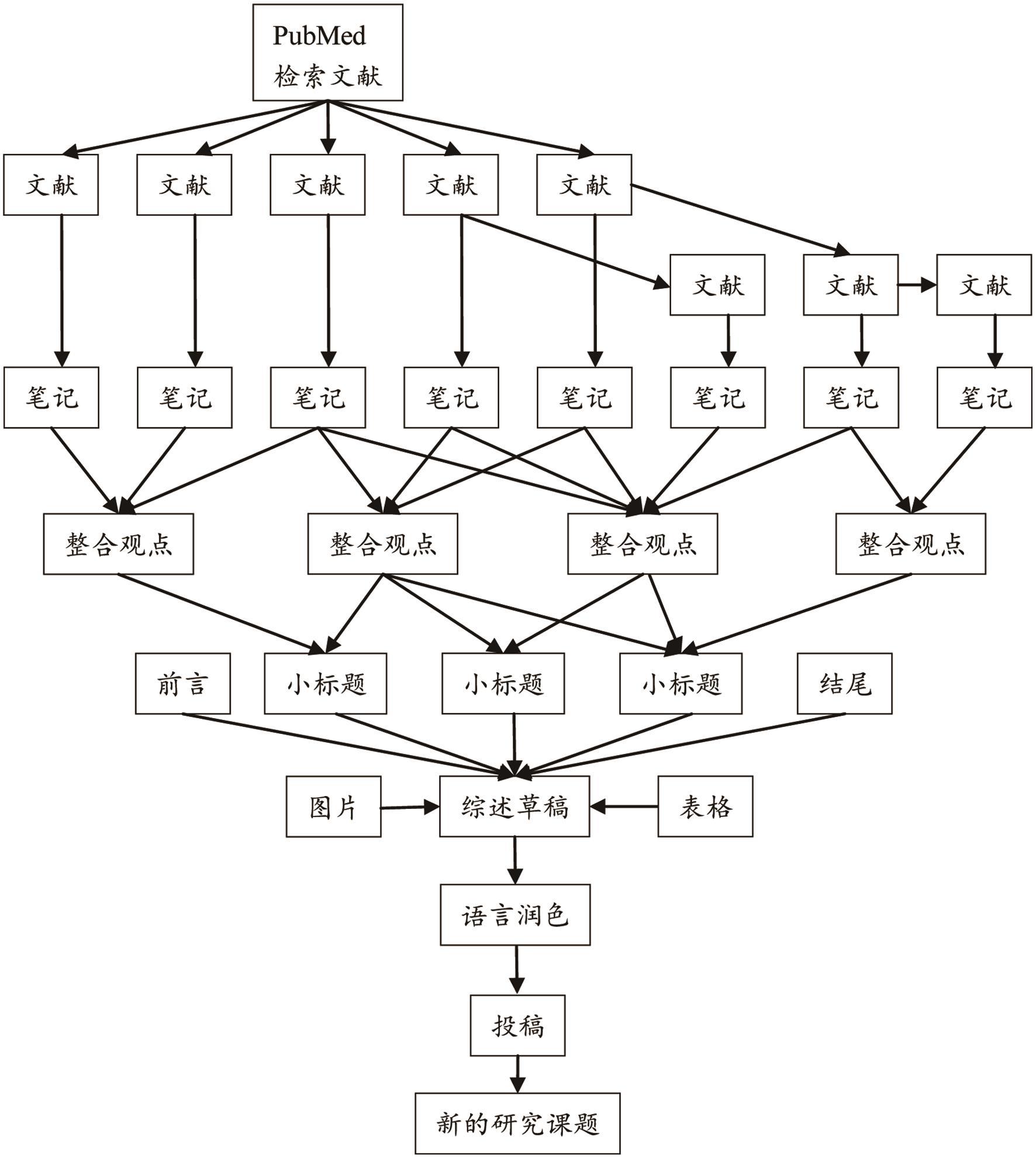 撰写综述的流程。