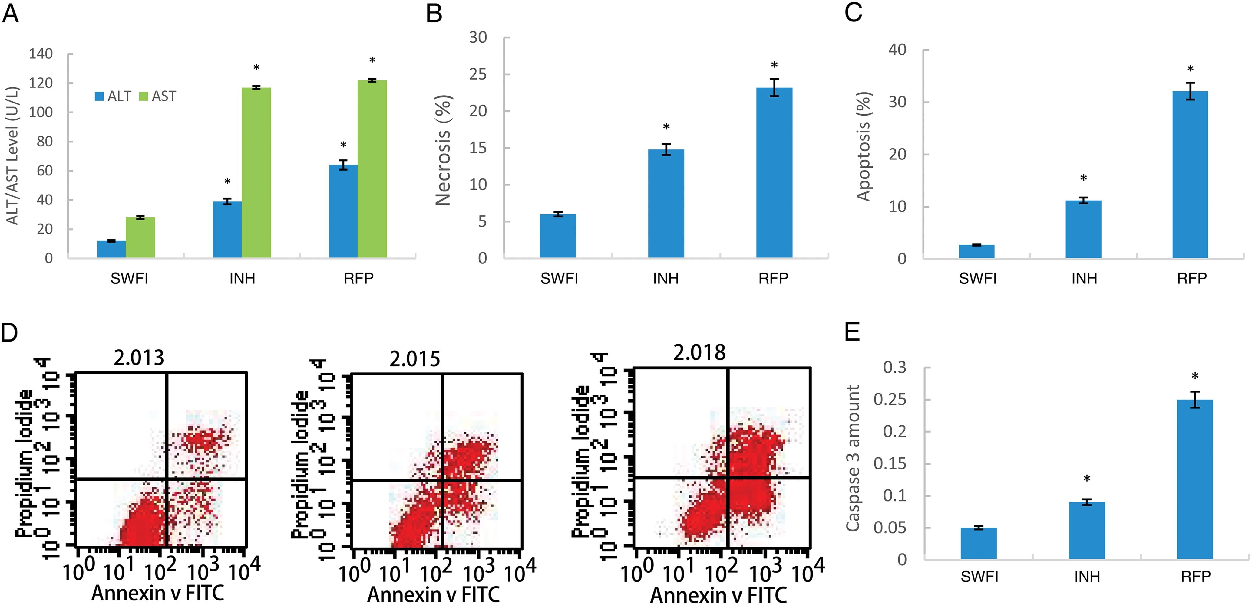 Hepatotoxicity induced by RFP- and INH-stimulated QSG7701 cells.