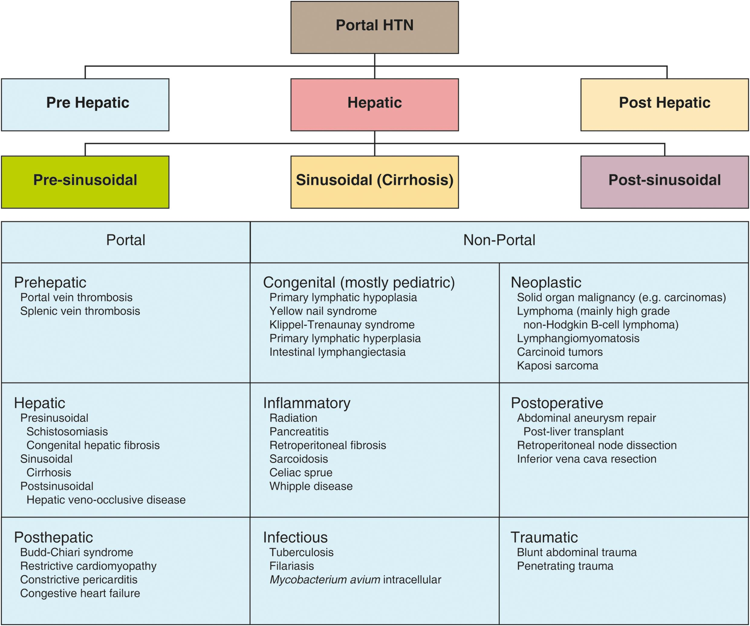Etiological classification along with differential diagnosis of various causes of portal hypertension based on the site of resistance to the portal blood flow (portal and non-portal hypertensive causes).