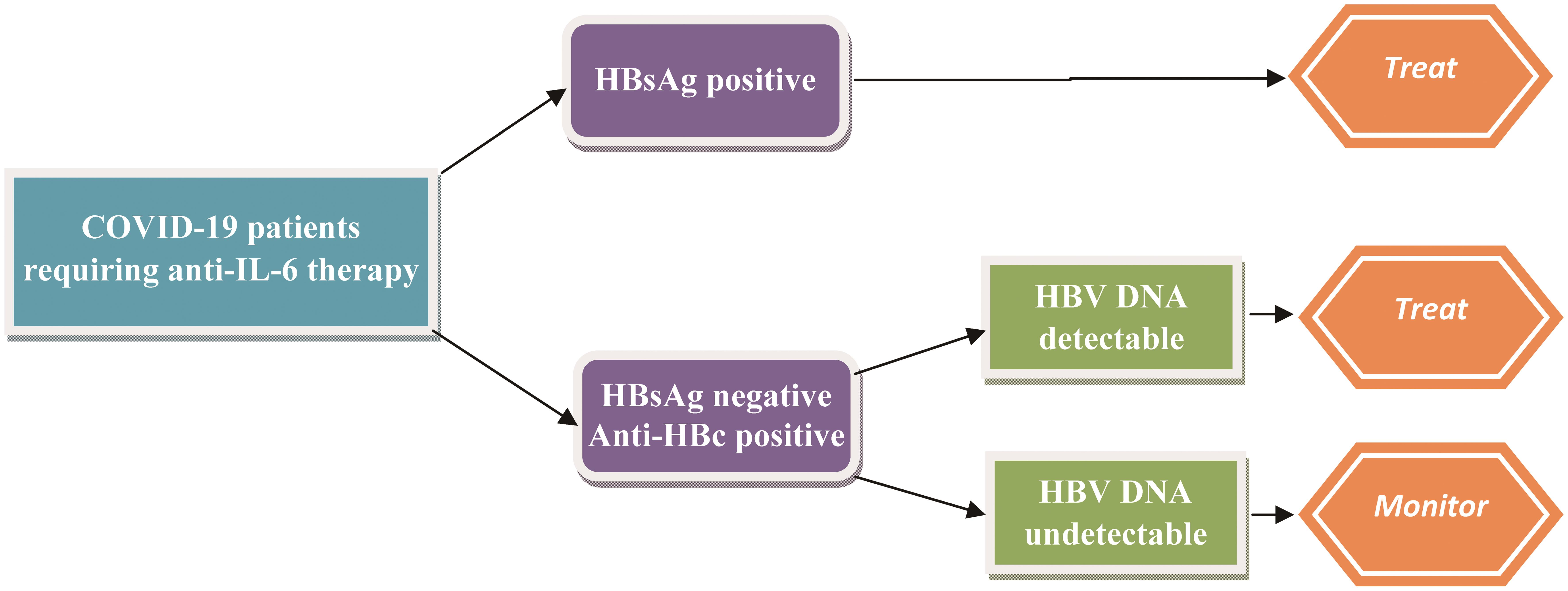 Antiviral treatment strategy in patients with COVID-19 at risk for HBV reactivation receiving anti-IL-6 therapy.