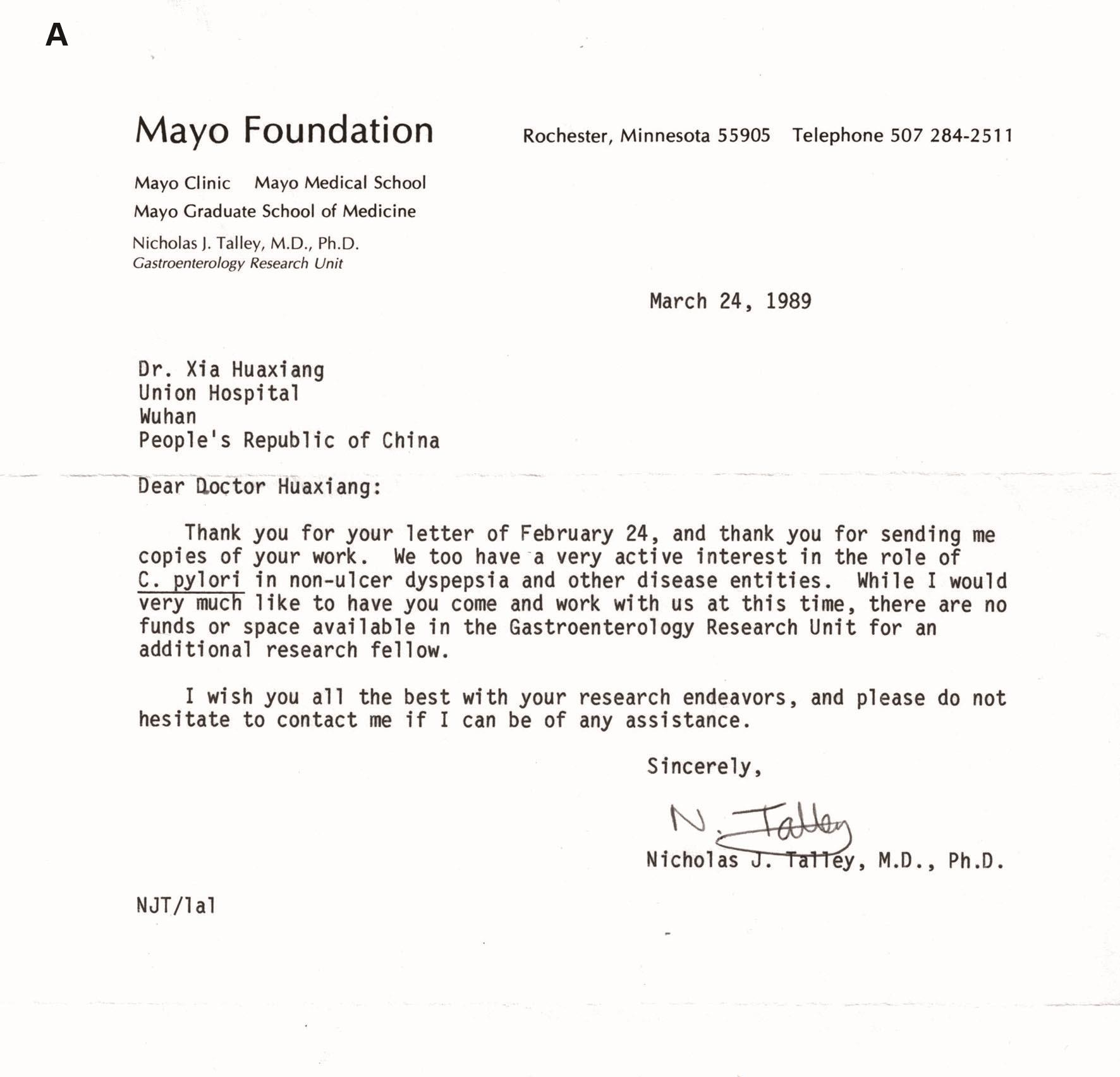 Talley教授1989年的回复信。