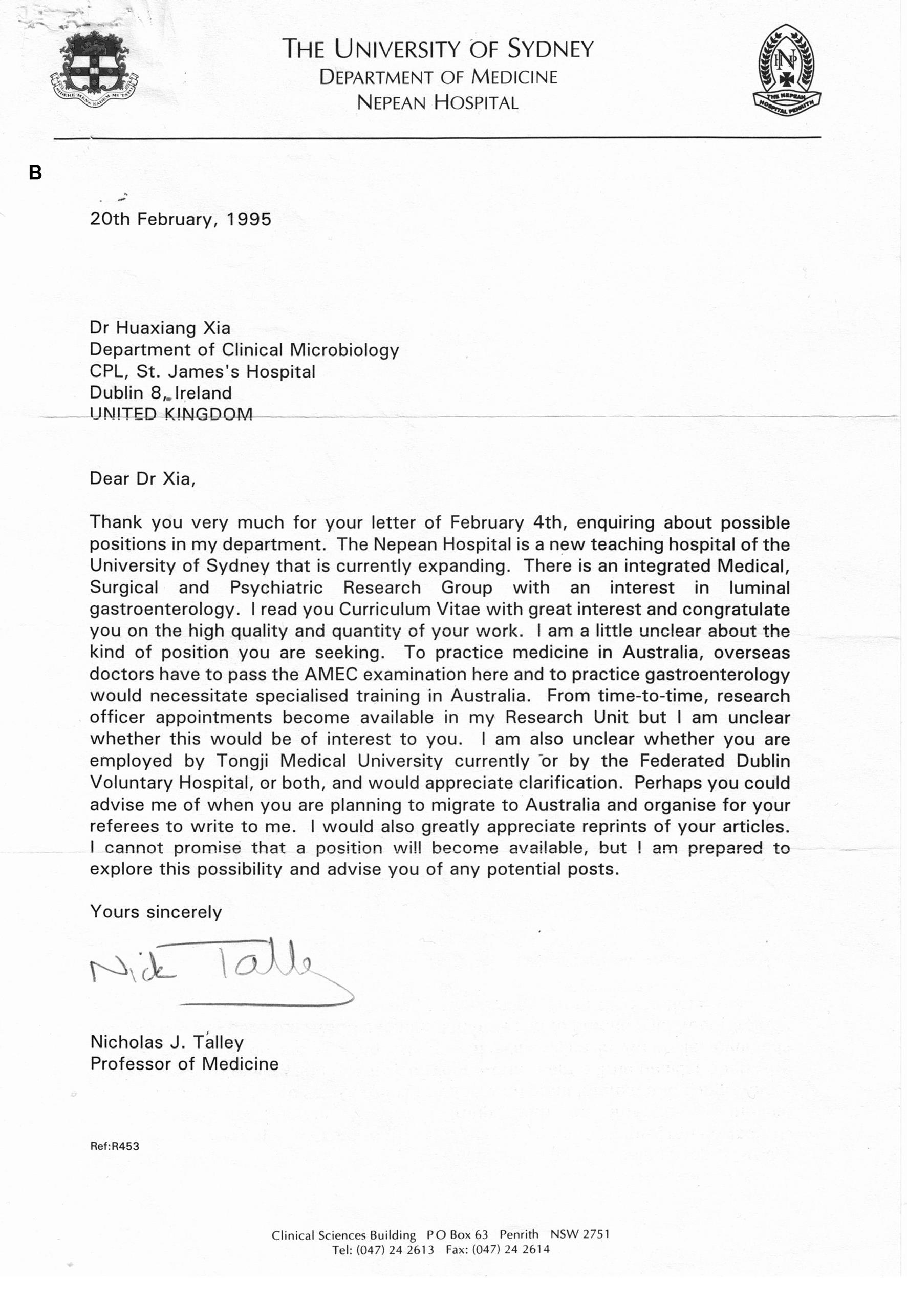 Talley教授1995年的回复信。